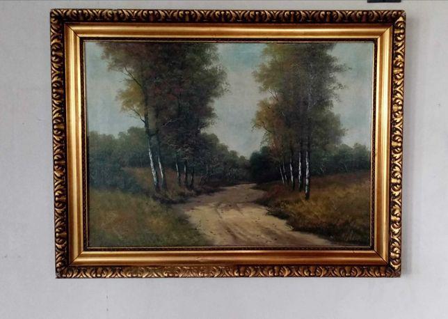 Obraz stary, olejny na płótnie 83 cm x 63 cm