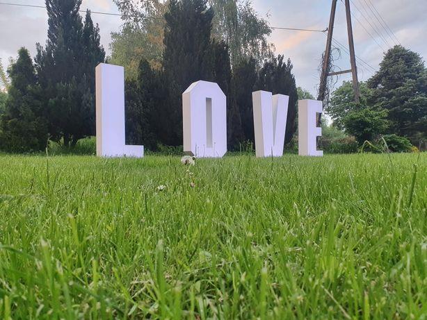 Napis love Wesele & Poprawiny