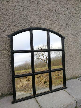 stare okno żeliwne z lustrami