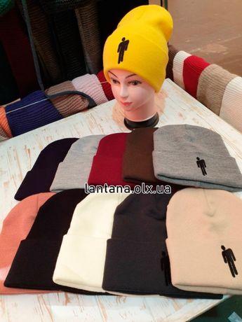 Зимняя шапка 2020 в разных цветах с вышивкой