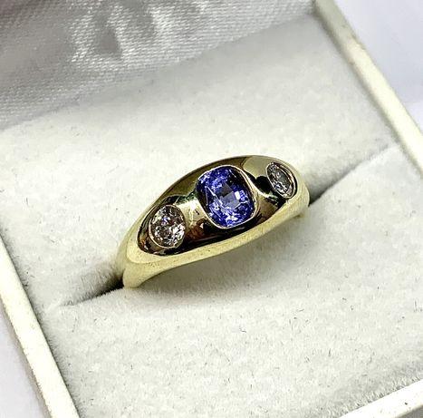 Śliczny pierścionek z tanzanitem i brylantami - złoto 585