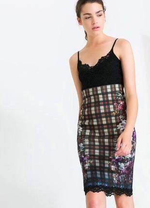 Стильное модное женское платье Zara на бретелях кружево, принт
