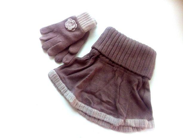Шапка, манишка, перчатки Vertbaudet  - Франция, размер 6/8лет