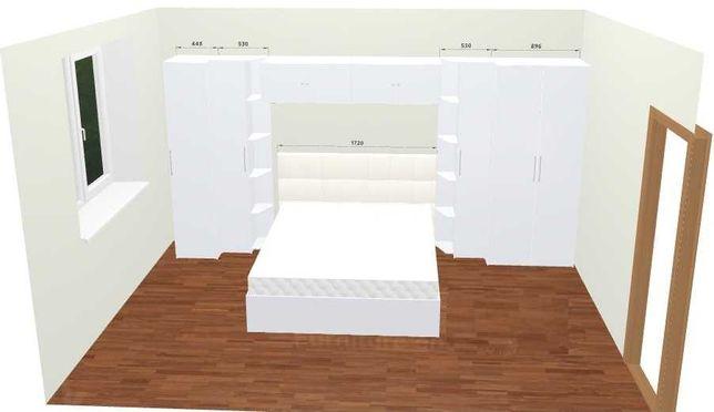 Комната. Мебель белый глянец 4,4*2,1. Кровать 160х200. Шкафы хранения.
