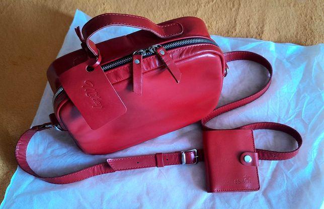 Сумка кожаная женская красного цвета новая + в подарок кожаный кошелёк