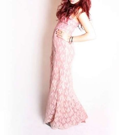 długa różowa suknia kwiaty floral róże S sylwester