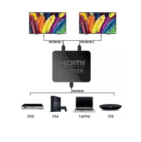 Spliter rozgałęziacz, HDMI 1 na 2 FULL HD, 4Kx2K, 3D