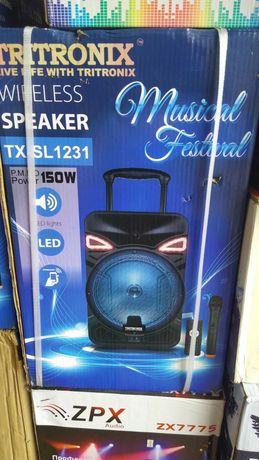 Большая Блютуз Колонка TRITRONIX 12 дюймов 150В +Микрофон USB, FM,  15
