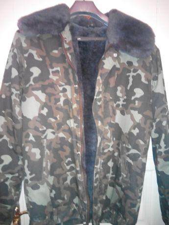 Куртка меховая камуфлированная