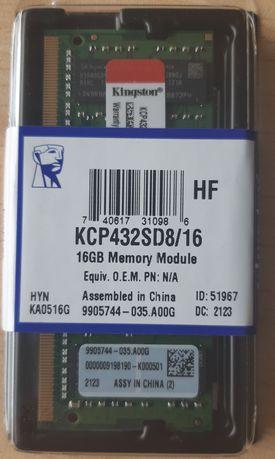Pamięć do laptopa Kingston 16GB DDR4 SODIMM KCP432SD8/16