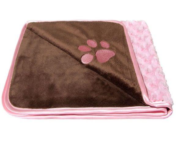 Piękne okrycie dla psa, kocyk futerkowy czekoladowo-różowy