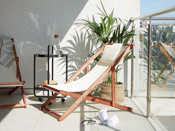 Cadeira de jardim reclinável e dobrável creme AVELLINO - Beliani