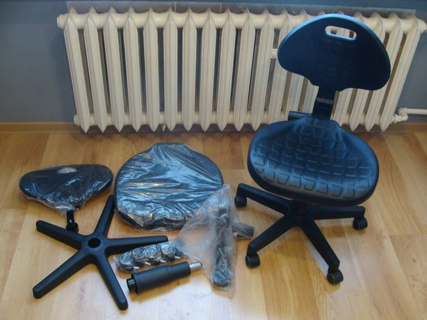 Fotel krzesło warsztatowe przemysłowe laboratoryjne obrotowe KN-01