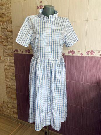 Винтажное хлопковое платье в клетку клетчатое