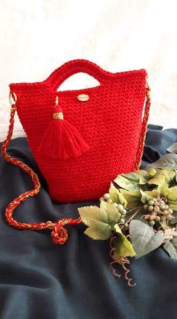 Torebka handmade ze sznurka bawełnianego