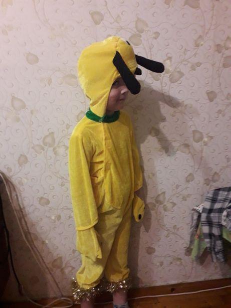 Праздничный детский карнавальный костюм желтый песик