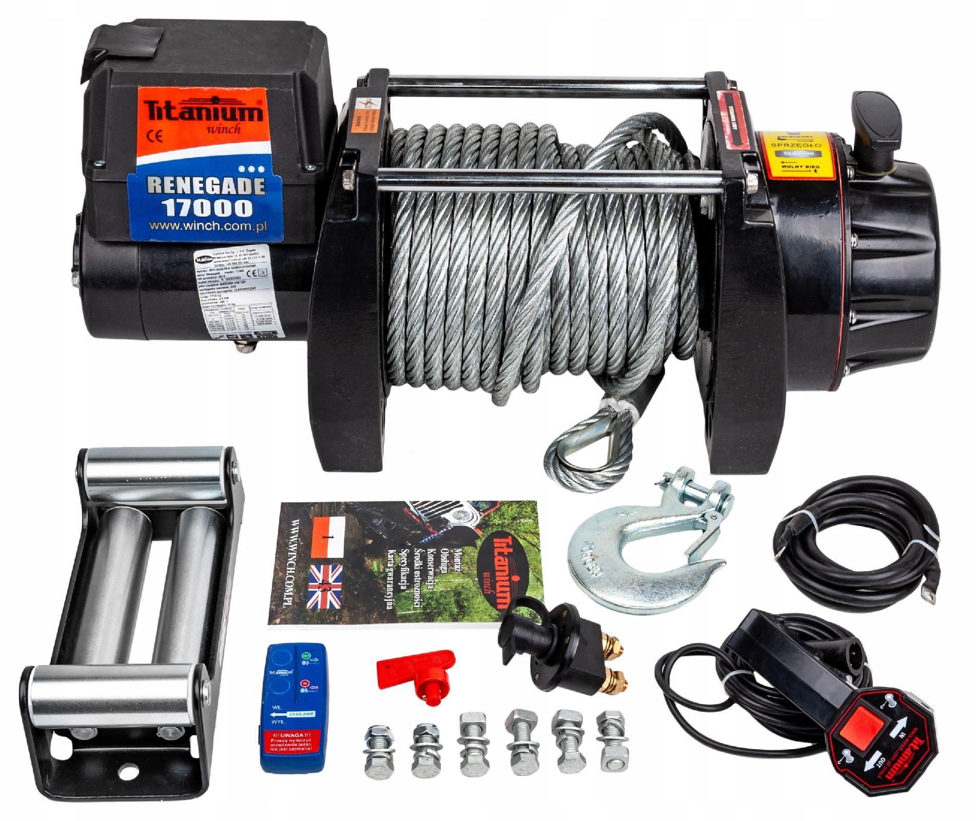 Wyciągarka samochodowa elektryczna 17000lb 7,7 12V 4X4 OFF-ROAD (WYC48