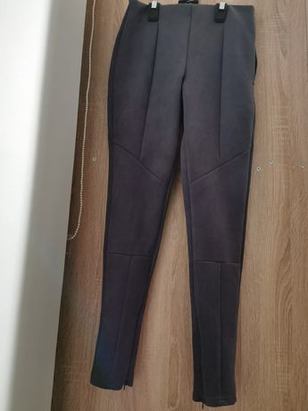 Spodnie damskie szare zamszowe