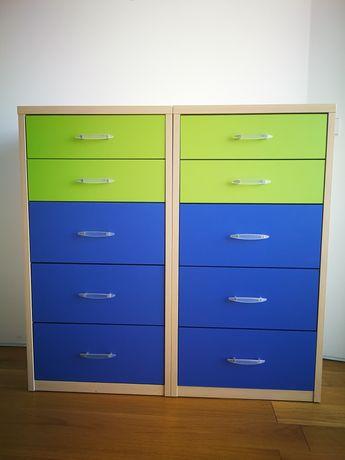 Móveis com gavetas juvenil azul verde e pinho