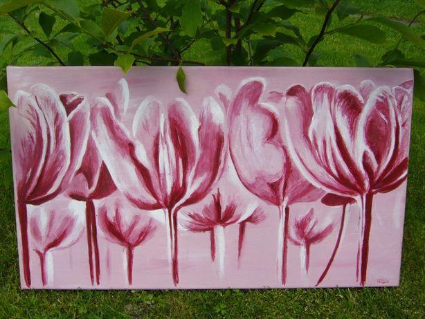Obraz olejny na płótnie, kwiaty, T. Andrzejewski 70x40