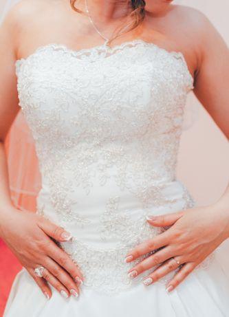 Весільна сукня S-M з корсетом,ручною вишивкою,з шовкового атласа