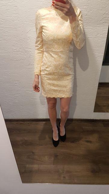Sukienka ecru złota r.34 xs ślubna