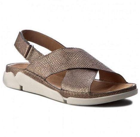 Sandały buty CLARKS Tri Alexia 37,5 (dł. 24 cm) stare złoto
