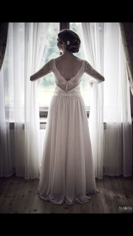 Suknia ślubna sukienka koronka francuska ecru biała 38