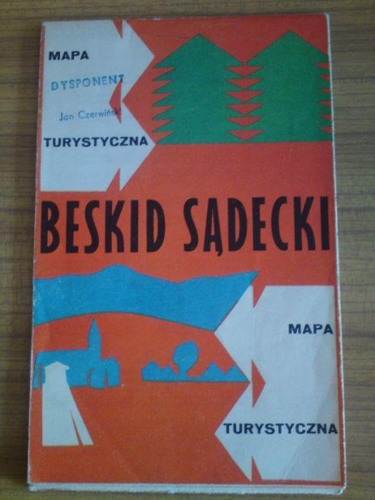 Stara mapa turystyczna Beskid Sądecki 1973 PRL Luboń - image 1