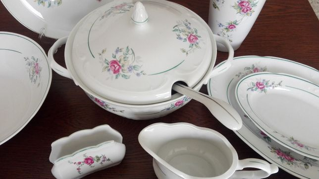 Serwis obiadowy kompletny, porcelana Włocławek