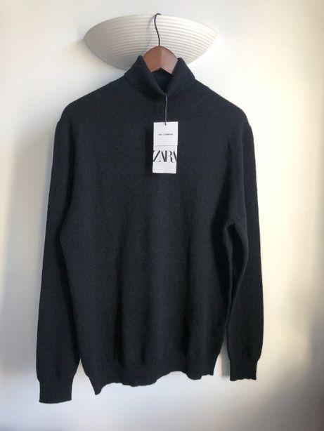 Sweter golf, Zara, 100% kaszmir, nowy, czarny, L