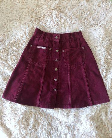 Вельветовая бордовая юбка