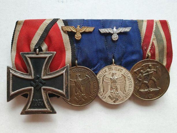 Barra de Medalhas c/ condecoração de Memel - Alemanha Nazi