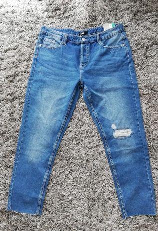 nowe jeansy przecierane boyfriend sinsay 42 kieszenie