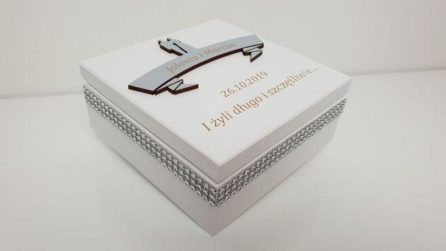 Pamiątka ŚLUBU szkatułka na pieniądze GRAWER pudełko na ślub