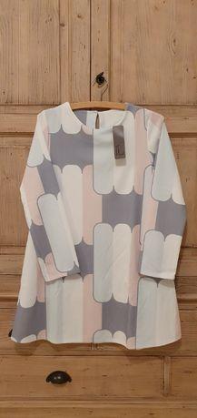 Tunika sukienka włoska pudrowa pastelowa NOWA roz S / M made in Italy