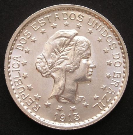 moneta Brazylia 500 reis 1913 - srebro - stan 1/2