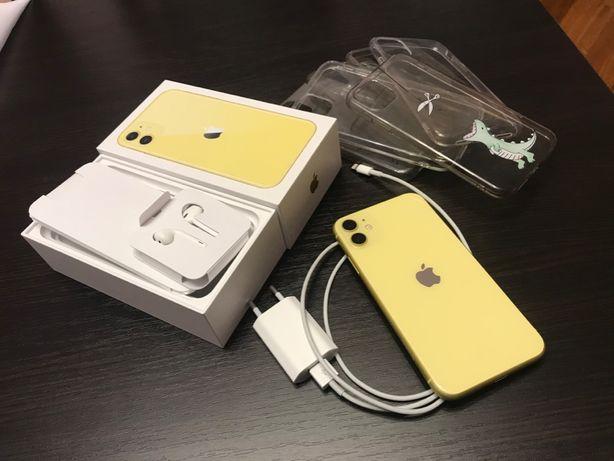 Apple iPhone 11 Yellow żółty +kilka etui+ gwarancja na szkło hybrydowe