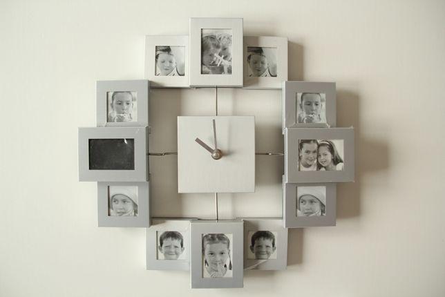 Nowoczesny i nowy zegar z ramkami na zdjecia
