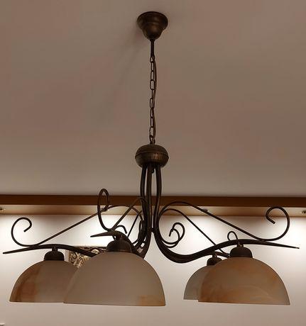 Komplet żyrandol + trzy idzielne lampy wiszące