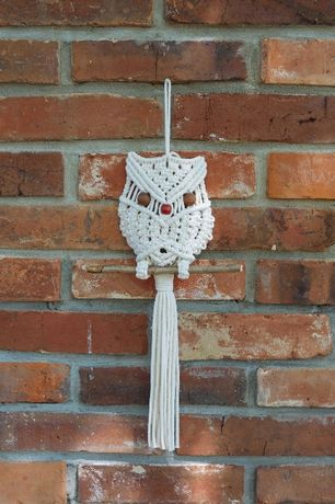 sowa ze sznurka bawełnianego handmade rękodzieło makrama