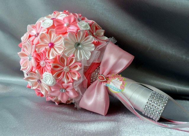 Bukiet ślubny trwały kwiaty kanzashi