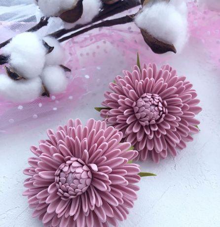 Хризантеми - заколки (резинки)до школи