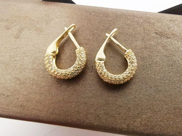 NOWE Złote kolczyki z cyrkoniami pr.585 ZŁOTO |Plus Lombard