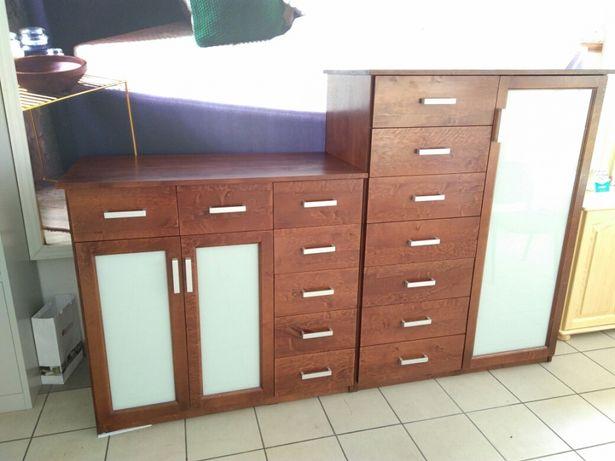 Komody 2 szt zestaw drewno olcha, komoda drewniana
