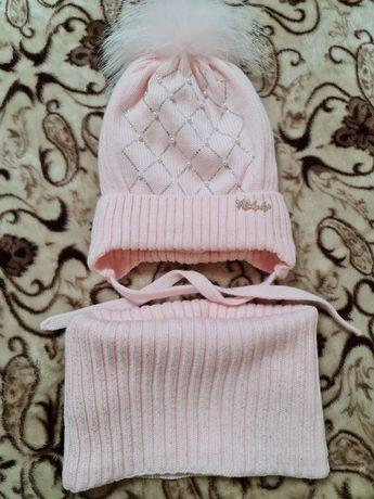 Красивенный комплект шапка+снуд зима р.50-52