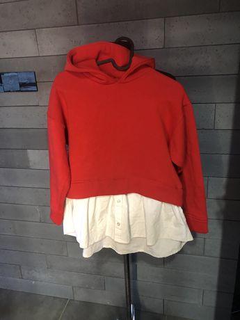 Bluza czerwona z koszula zara 140 dla dziewczynki