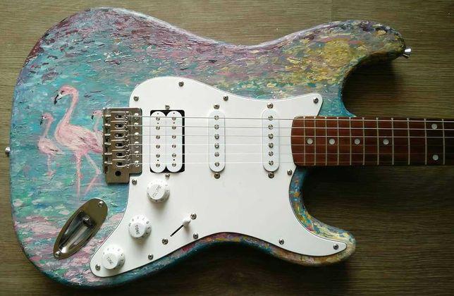 Gitara Stratocaster, Partcaster, składak, malowany korpus, obraz