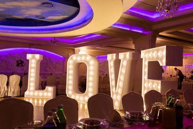 Napis LOVE XXL/MIŁOŚĆ/ Ciężki dym/pirotechnika/Dj/pudło z balonami