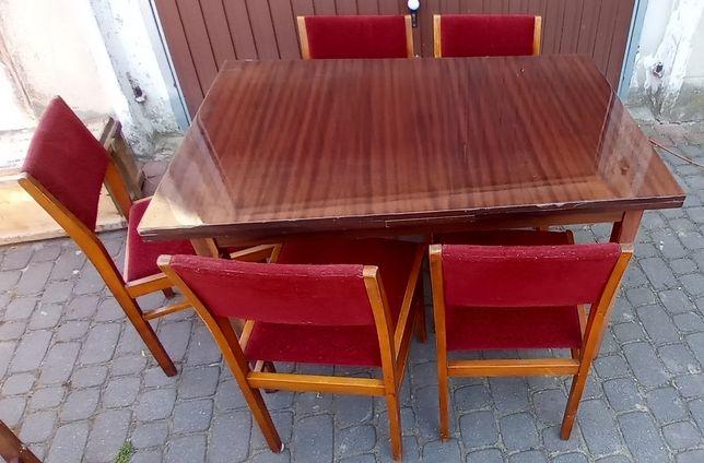 Stół rozkładany + komplet 5 krzeseł PRL antyk